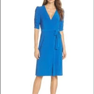 Eliza J Blue Ruched Sleeve Faux Wrap Dress